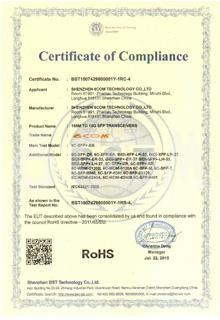 SFP RoHS Certificate